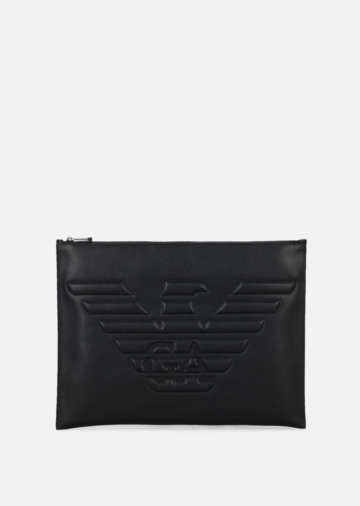ddf4789569 Pochette in pelle stampata palmellata con maxi-logo | Uomo | Emporio ...