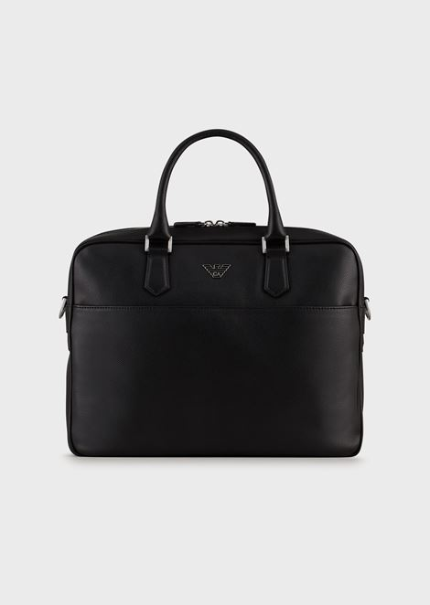 Printed, boarded leather briefcase with shoulder strap
