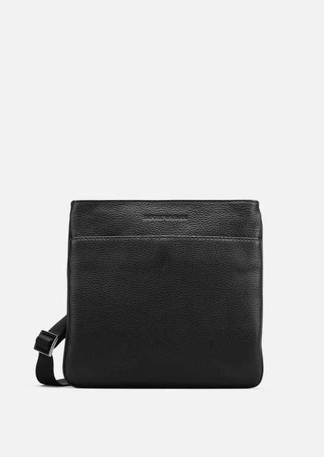 Grained Leather Messenger Bag