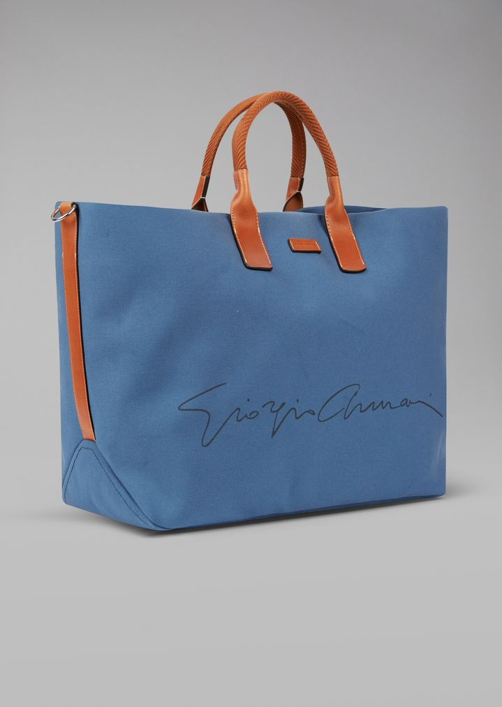 GIORGIO ARMANI Holdall in fabric with leather details Weekender Man d