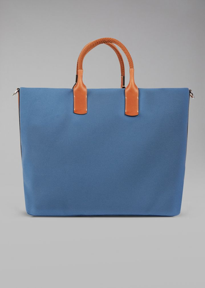 GIORGIO ARMANI Holdall in fabric with leather details Weekender Man e