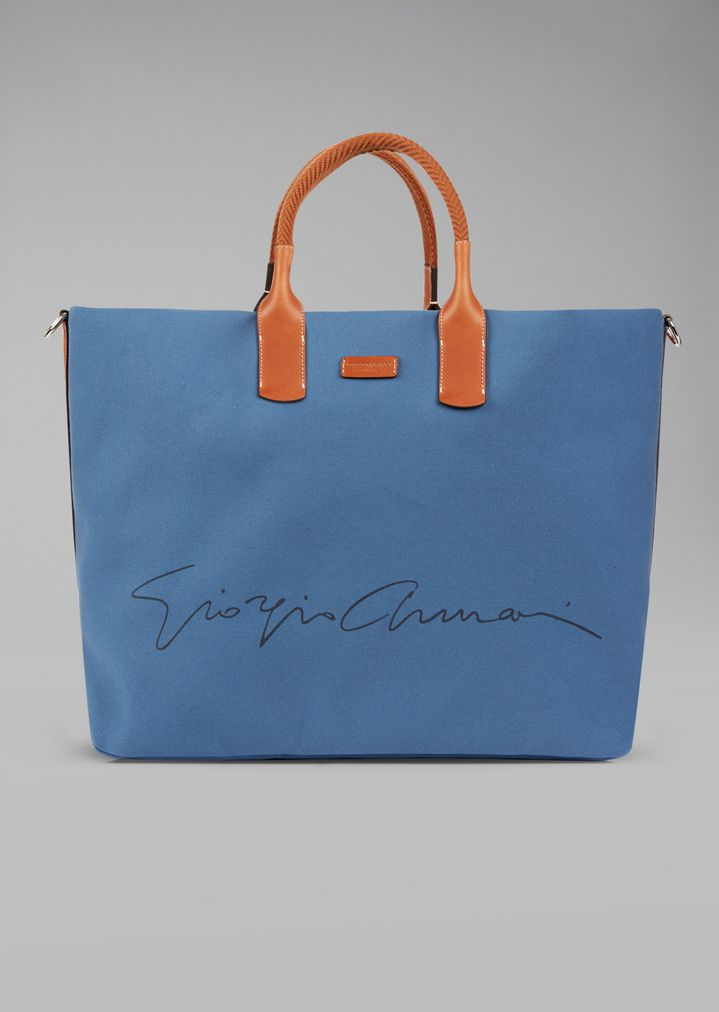 GIORGIO ARMANI Holdall in fabric with leather details Weekender Man f
