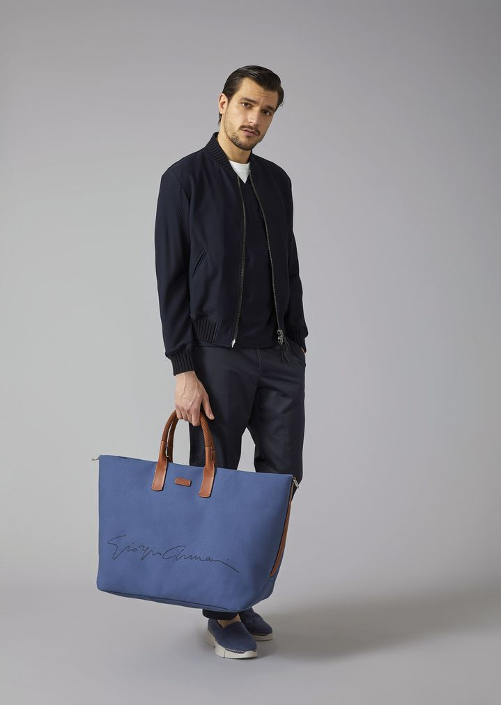 GIORGIO ARMANI Holdall in fabric with leather details Weekender Man r