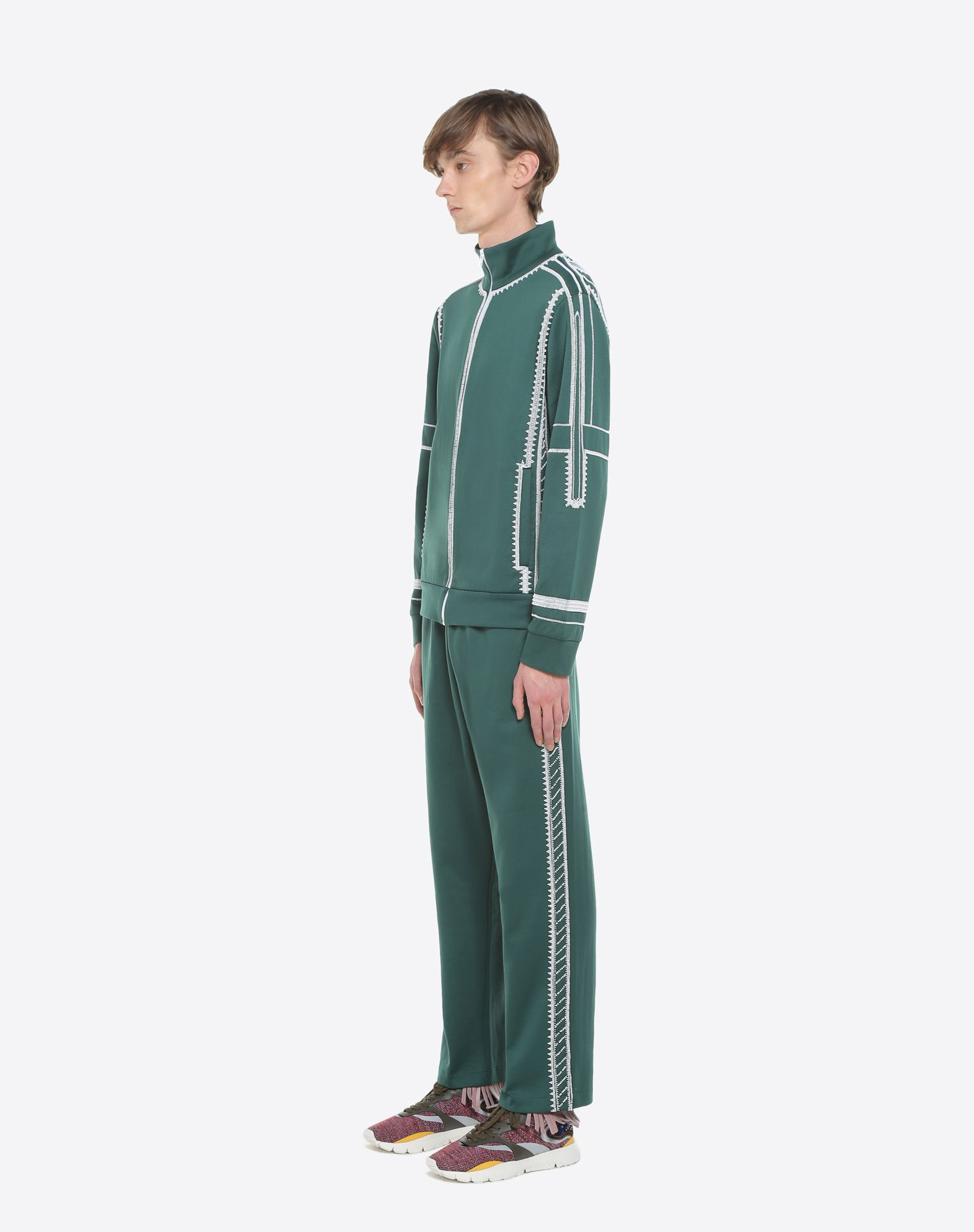 VALENTINO UOMO Jersey trousers with geometric embroidery Trousers U d