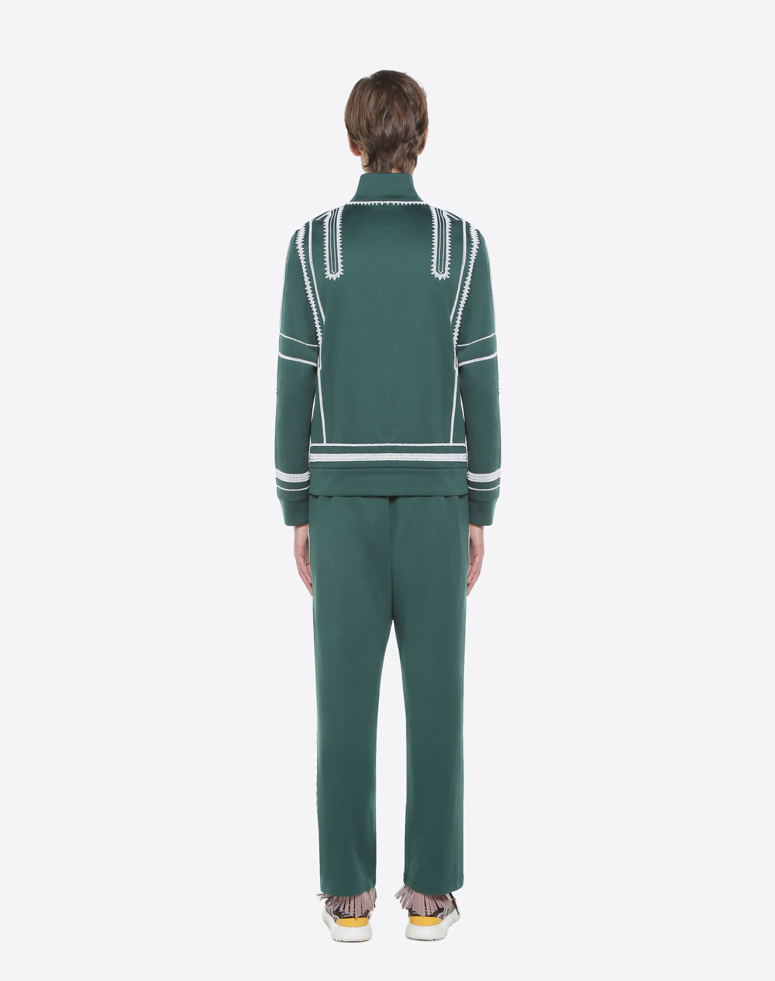 VALENTINO UOMO Jersey trousers with geometric embroidery Trousers U e