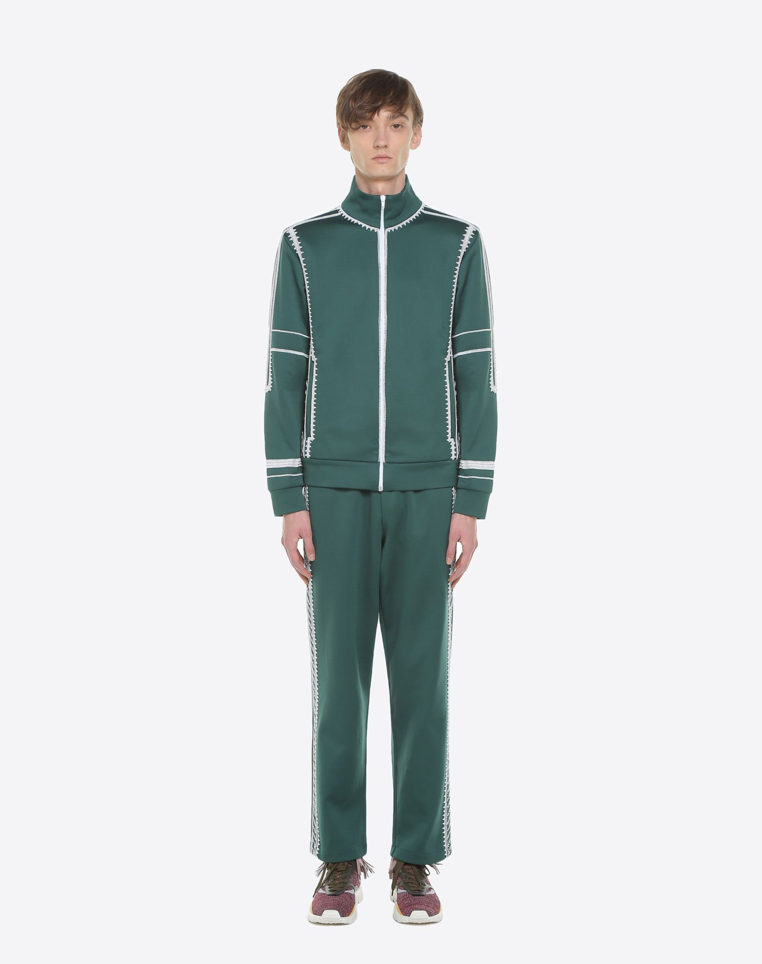 VALENTINO UOMO Jersey trousers with geometric embroidery Trousers U r