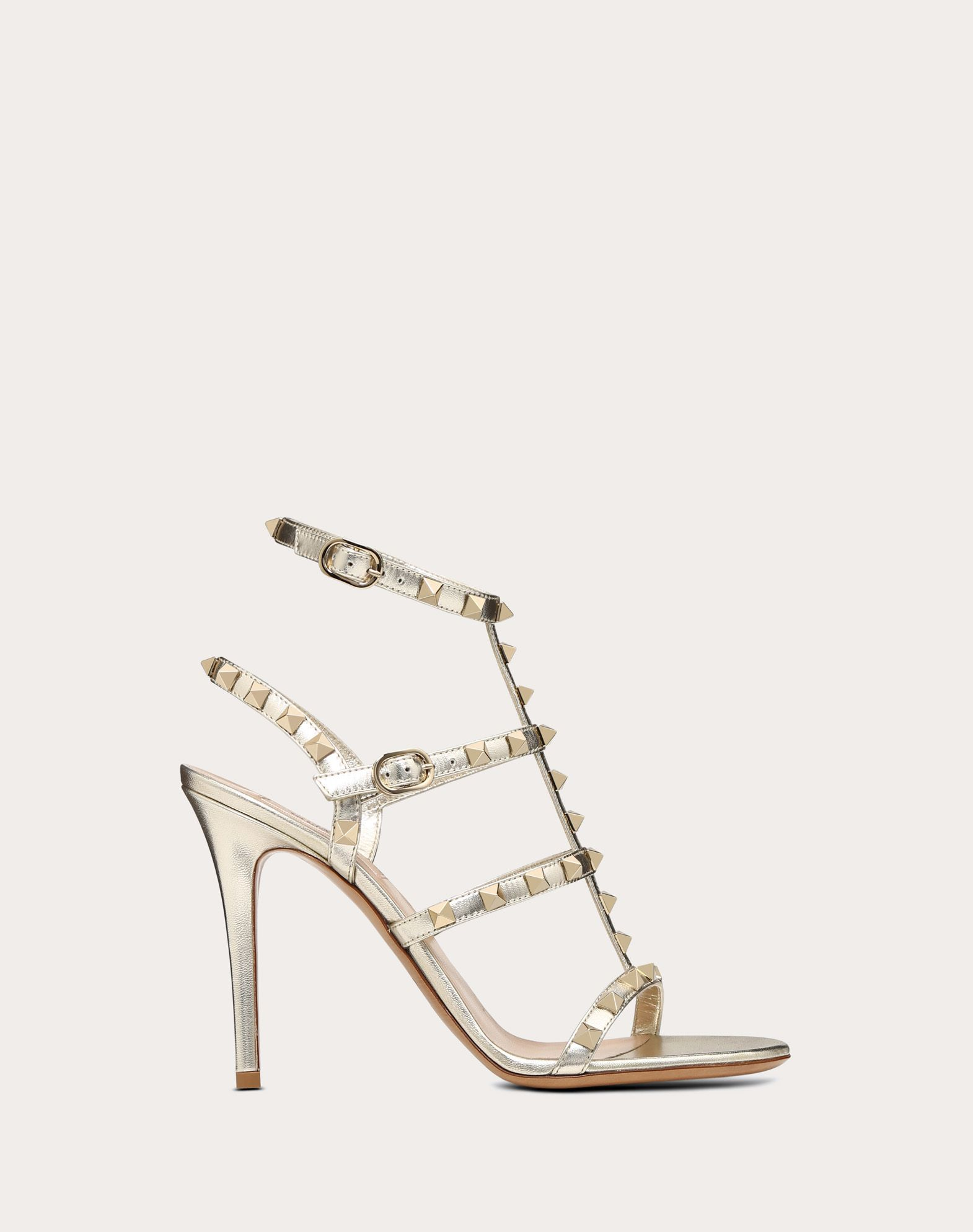 VALENTINO Laminated effect Round toeline Leather lining Leather sole Buckle Spike heel  45397389ha