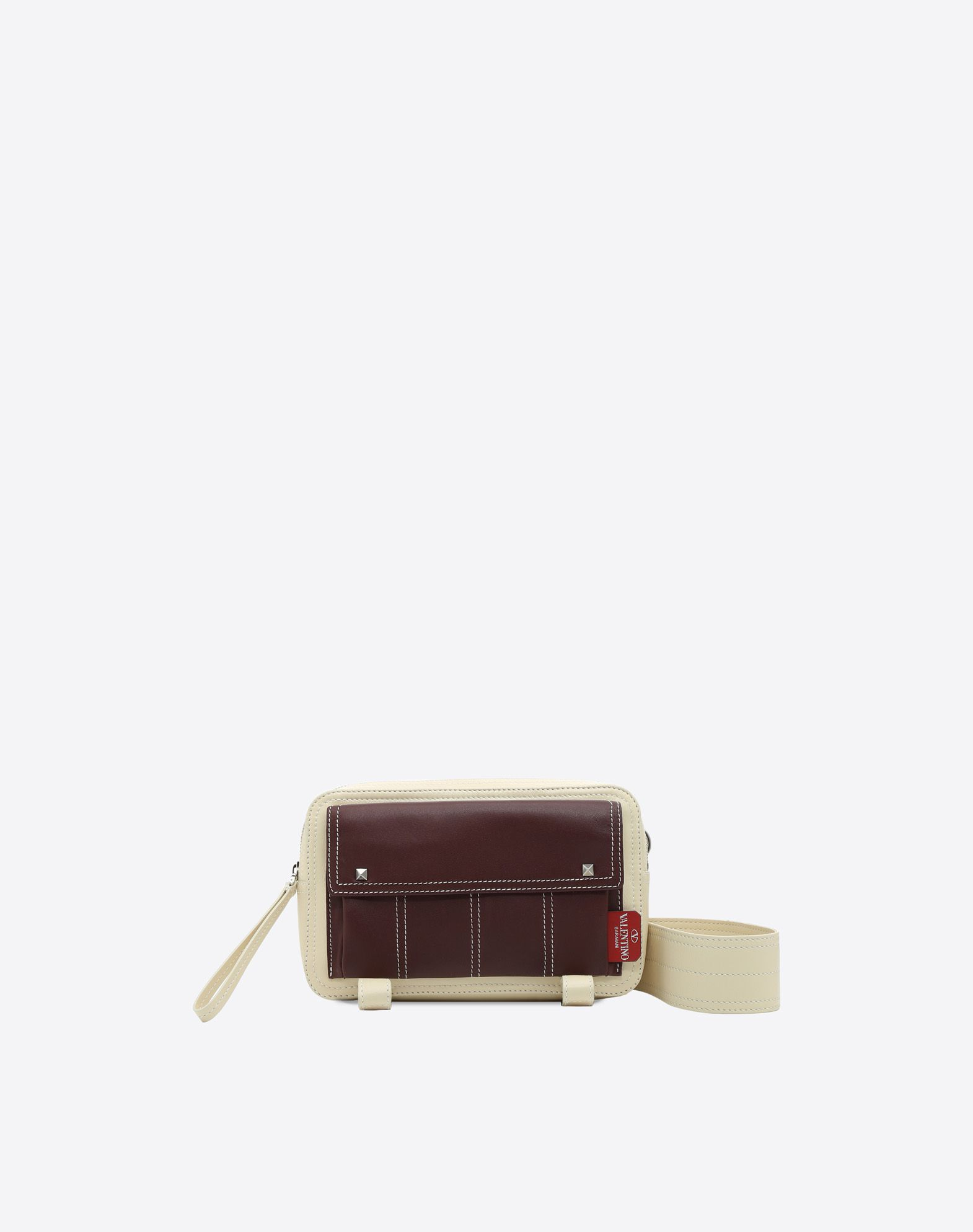 VALENTINO Leather Logo Two-tone Zip Removable shoulder strap  45397394wh