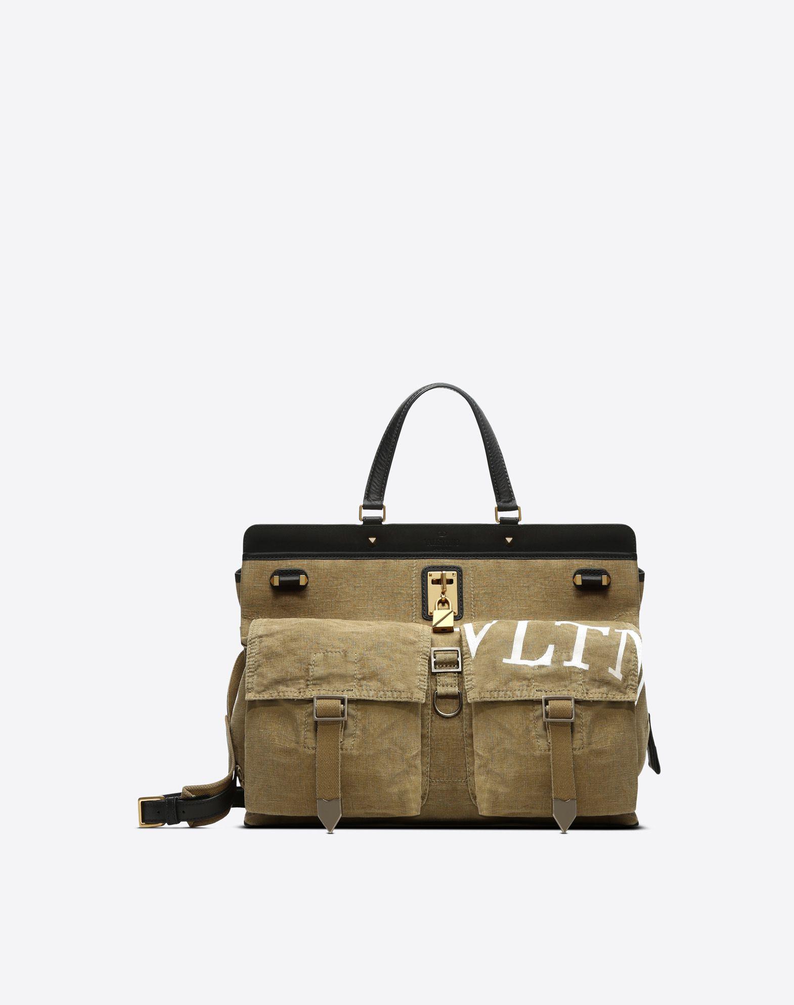 VALENTINO Plain weave Logo Solid colour Framed closure Handbags Medium  45397396iw