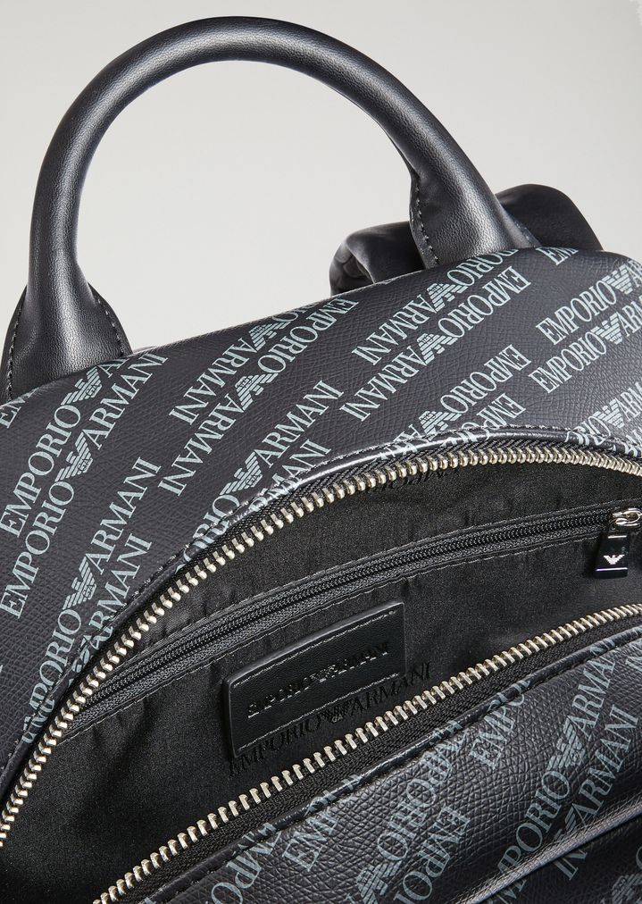 ... Backpack in smooth faux leather with all-over logo. EMPORIO ARMANI 1149be1dd8b7e
