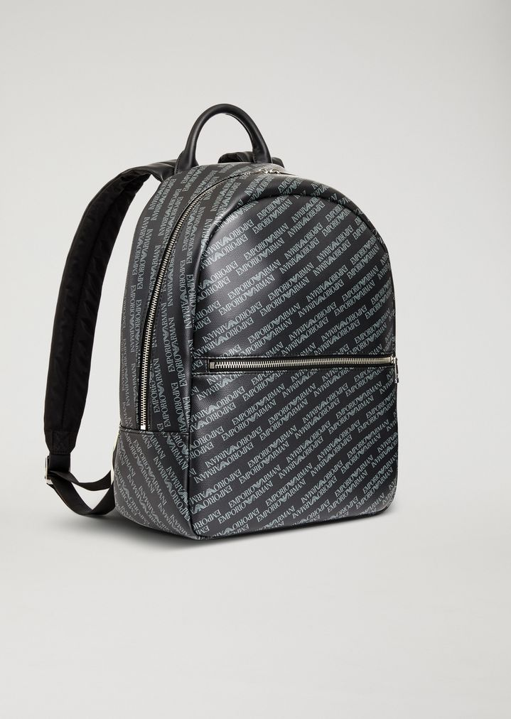 Backpack in smooth faux leather with all-over logo   Man   Emporio ... 4b8626ace0