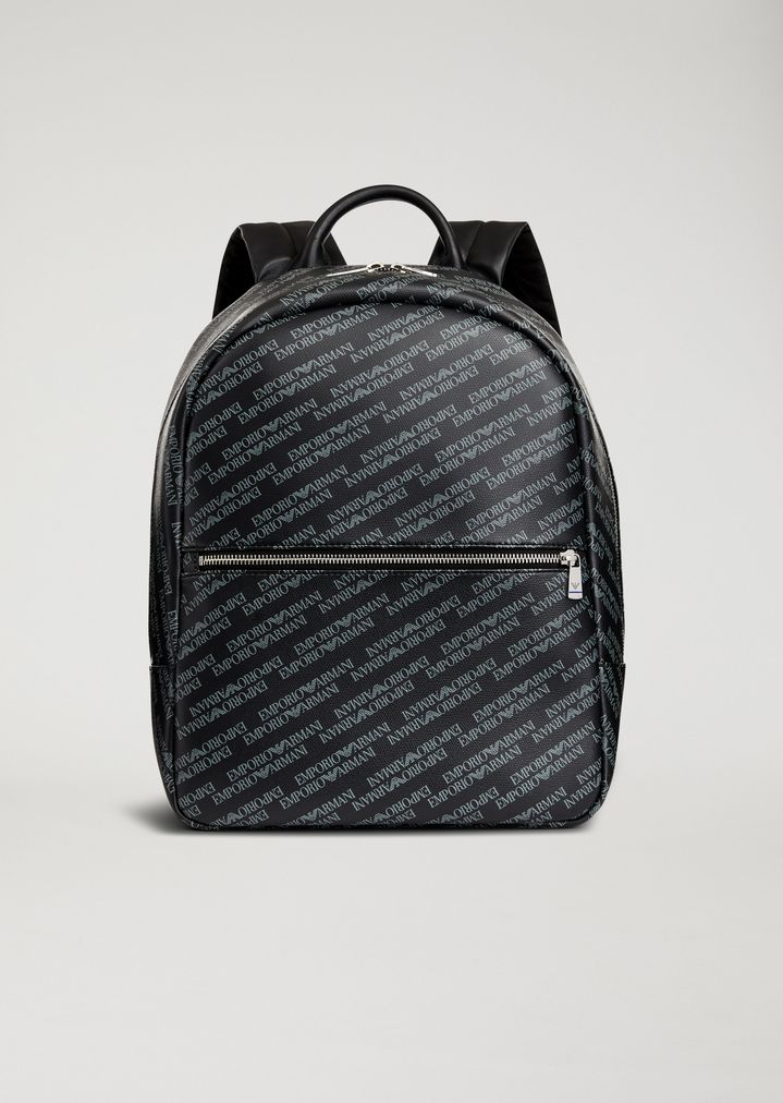 a2f2bb1729ed Backpack in smooth faux leather with all-over logo