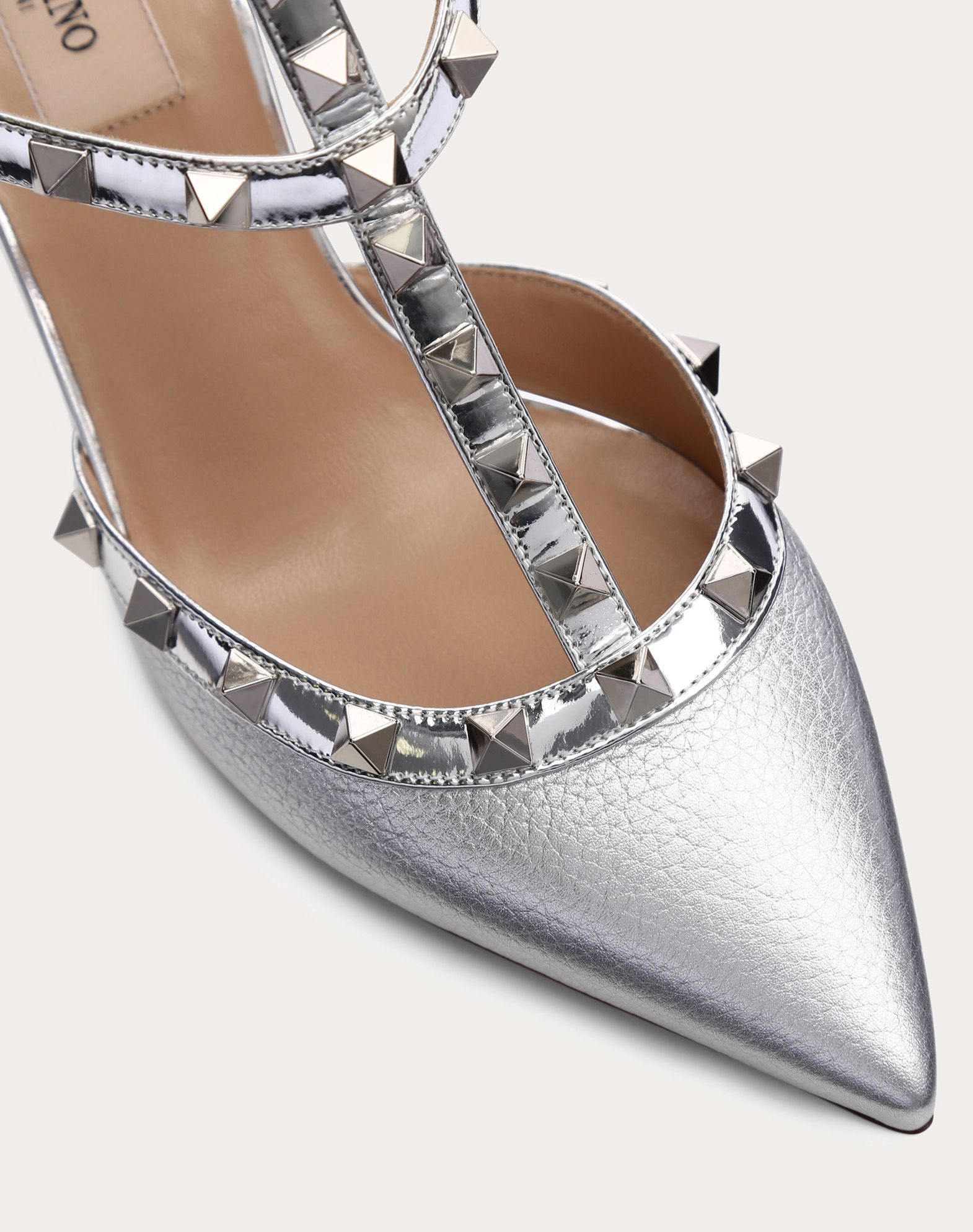 VALENTINO Solid colour Laminated effect Metal Applications Buckle Narrow toeline Leather lining Leather sole  45398442hm