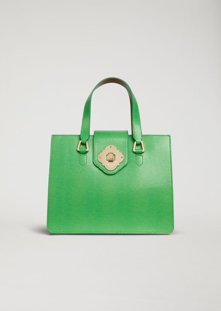 9da3ab48f7 Lizard print leather handbag   Woman   Emporio Armani