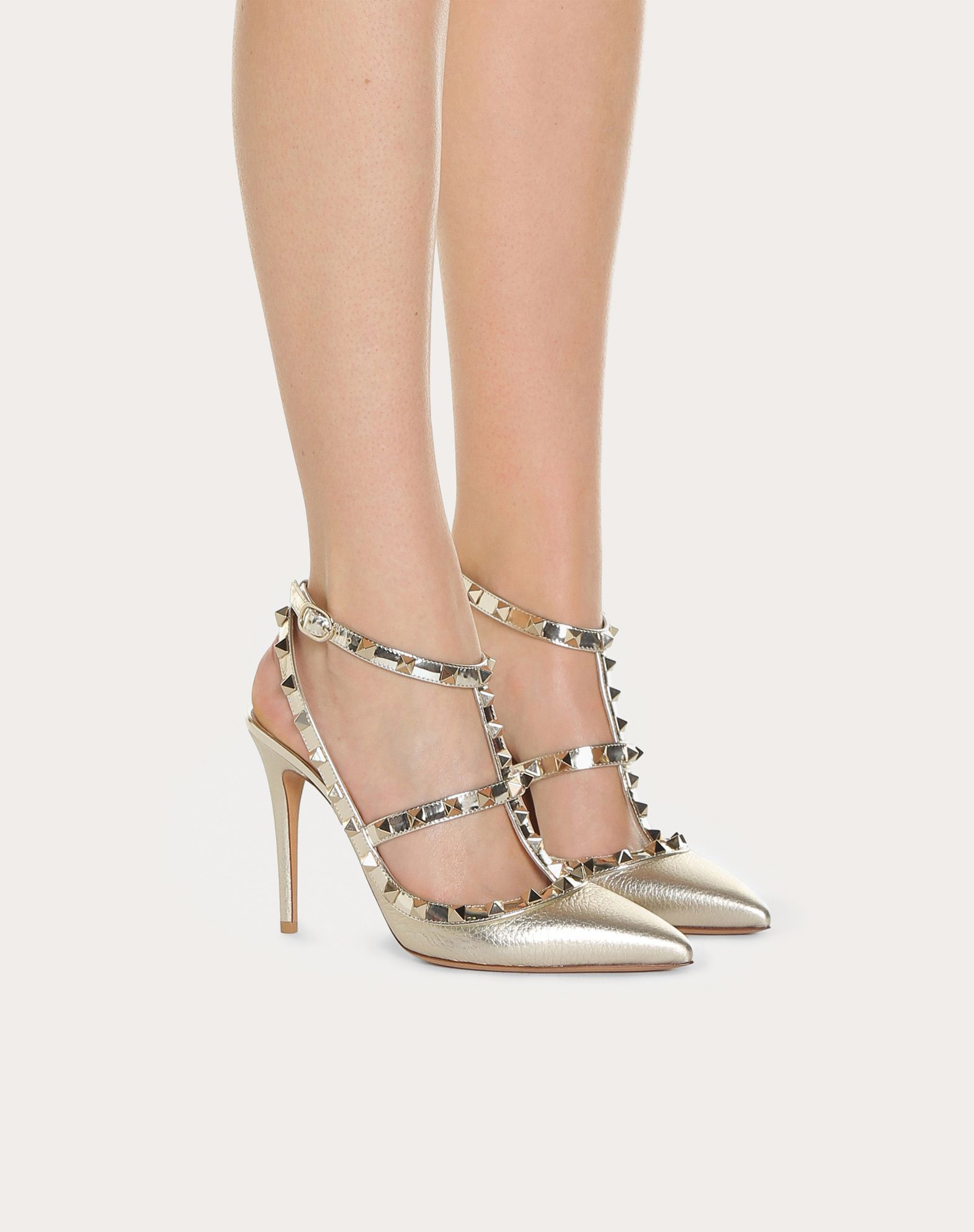 VALENTINO Spike heel Laminated effect Textured leather Studded Buckling ankle strap closure Narrow toeline Leather lining Leather sole  45400060xa