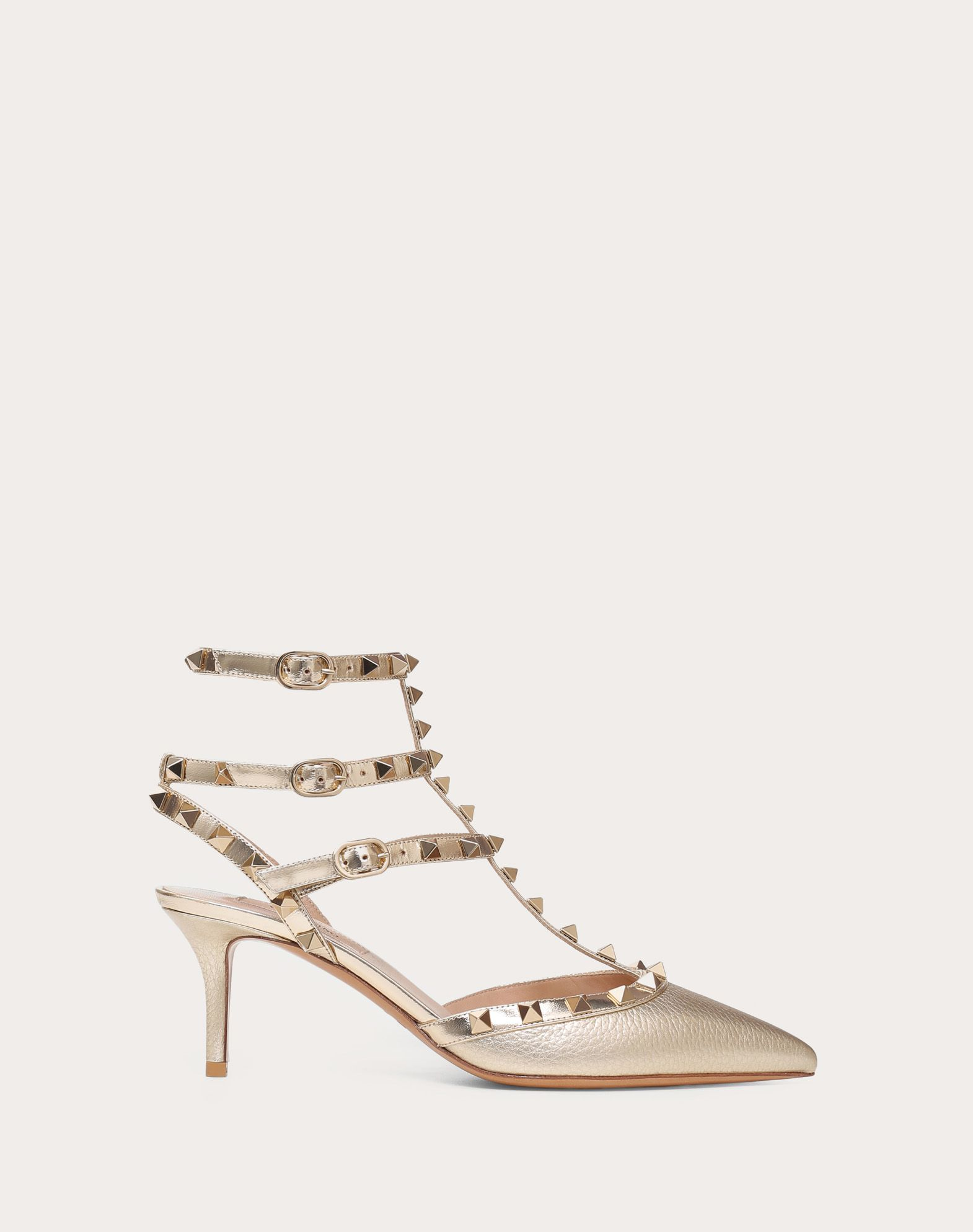VALENTINO Solid color Spike heel Laminated effect Textured leather Studded Buckling ankle strap closure Narrow toeline Leather lining Leather sole  45400061ck