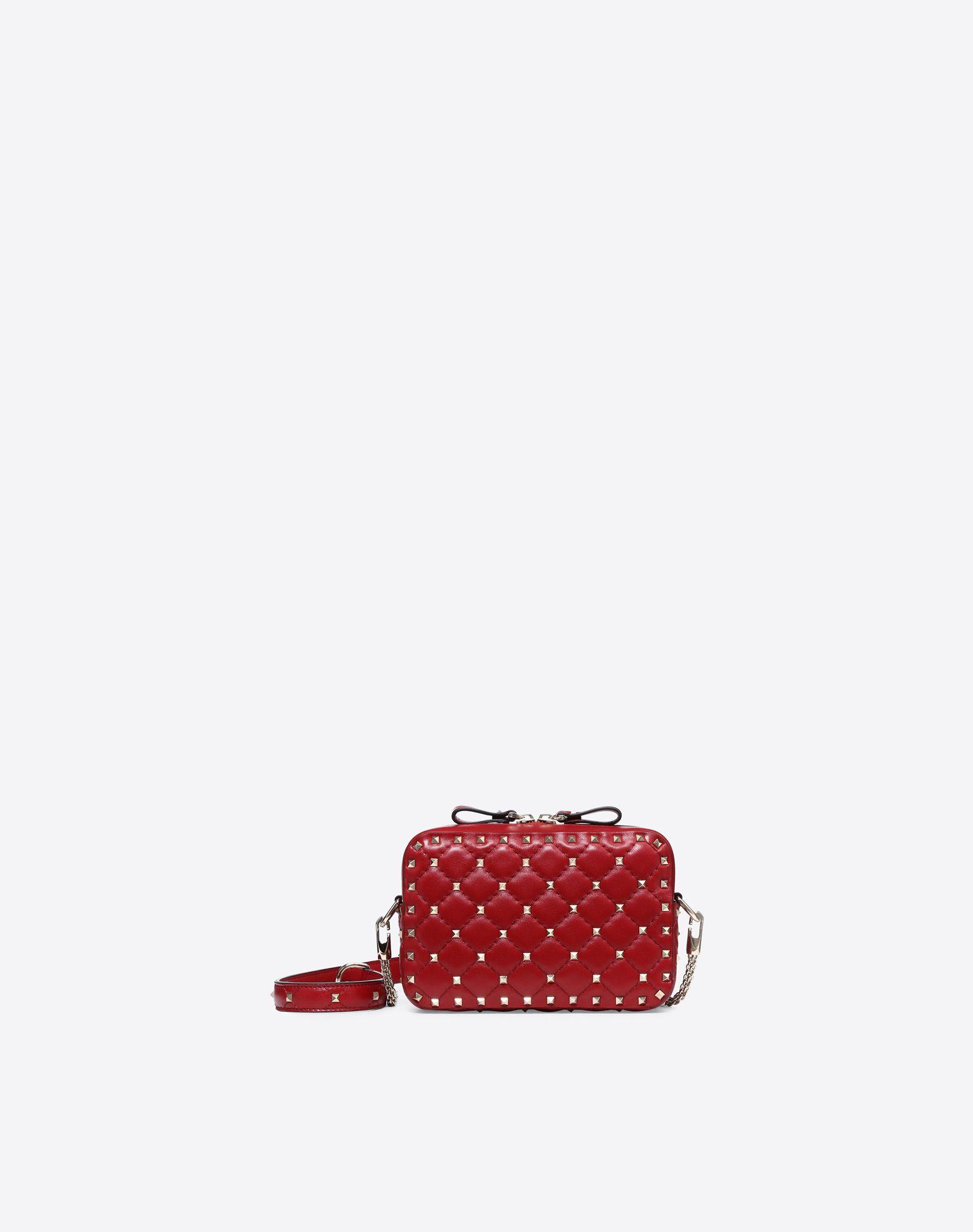 VALENTINO Studs Solid color Zip Internal pocket Removable shoulder strap Messenger bags Mini  45400408bd