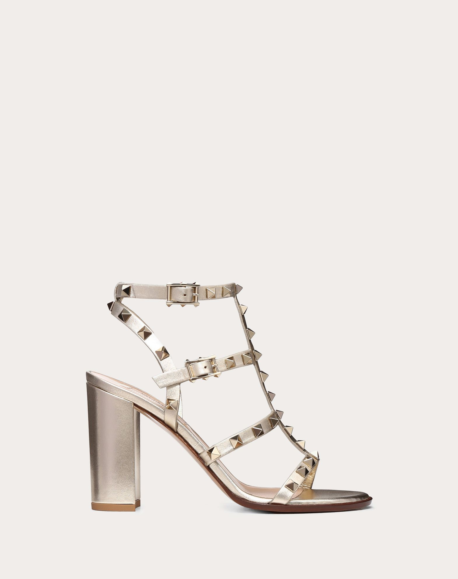 VALENTINO Studded Laminated effect Round toeline Leather lining Solid colour Leather sole Buckling ankle strap closure Square heel  45400423wh