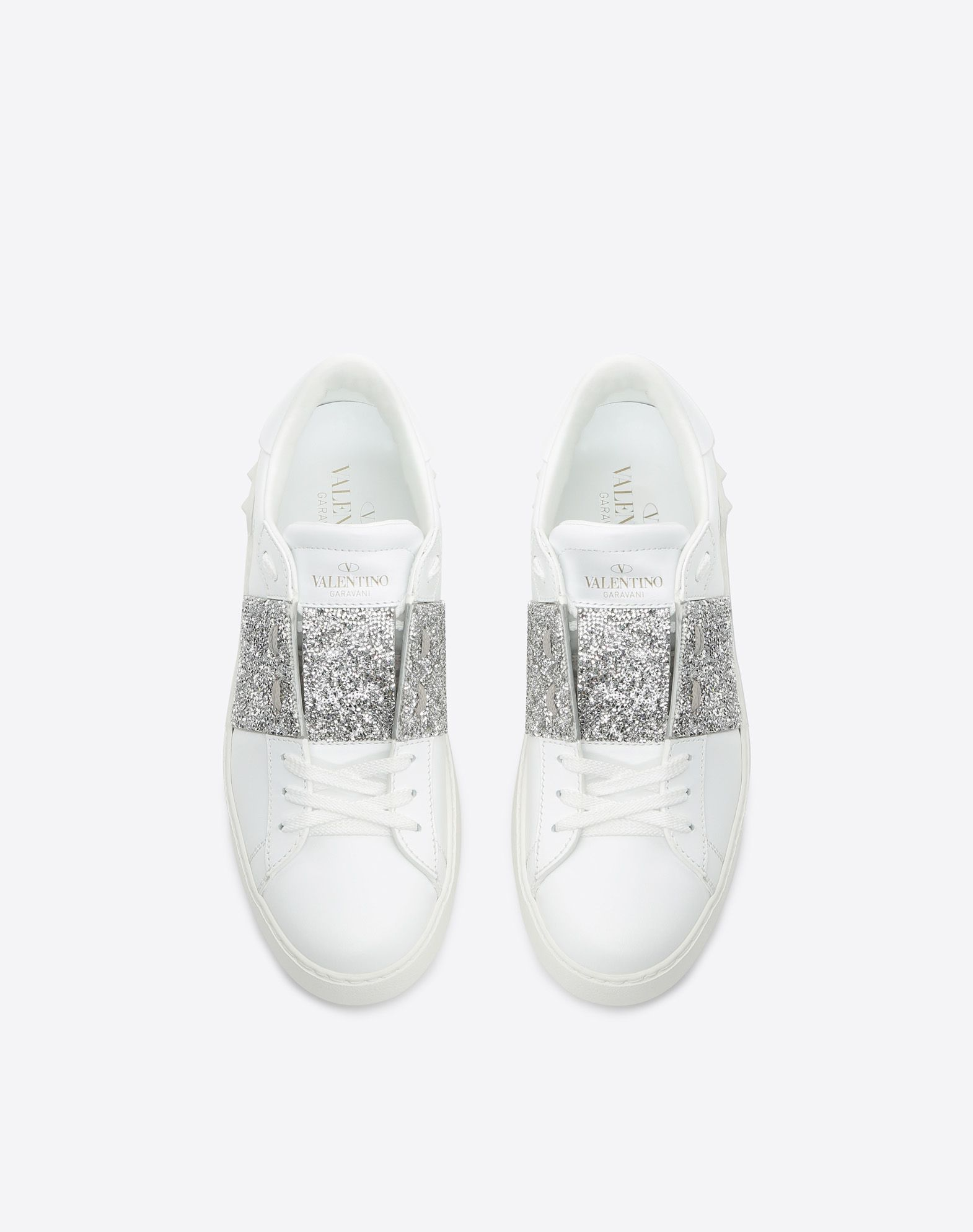 VALENTINO Two-tone Leather lining Laces Flat Glitter Round toeline Rubber sole  45400425wa