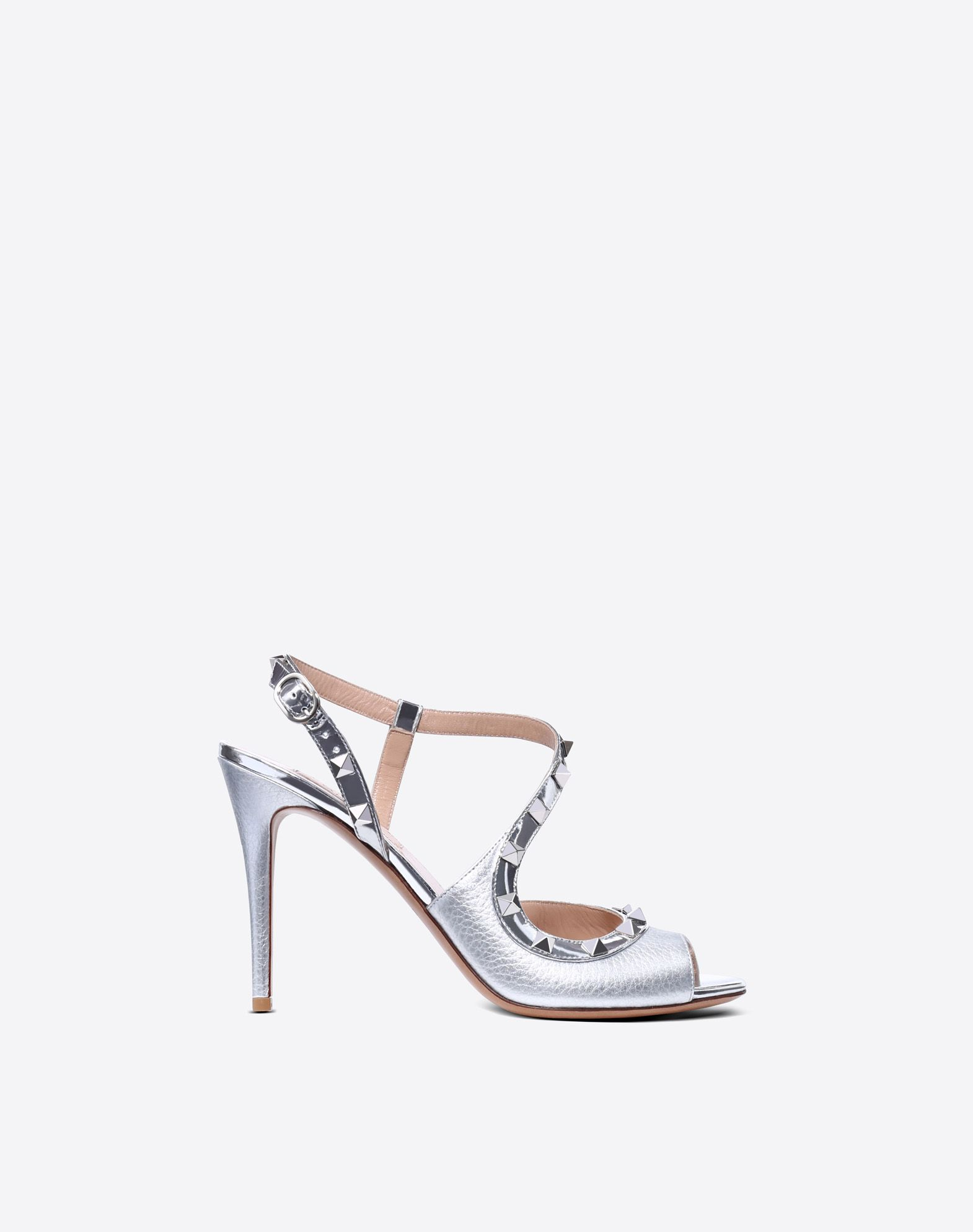 VALENTINO Textured leather Studs Laminated effect Open toe Leather lining Solid colour Leather sole Wrapping straps closure Spike heel  45400440ov