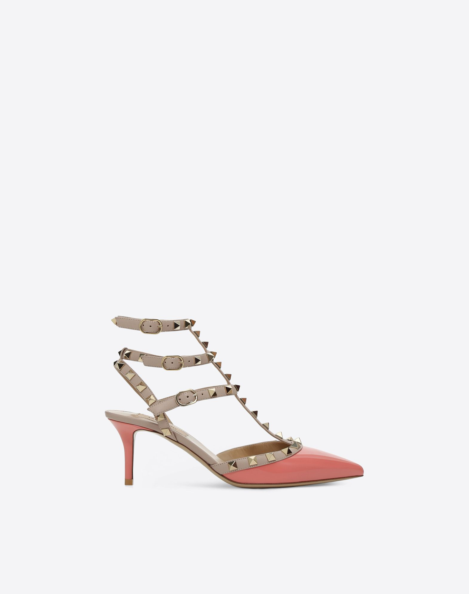 VALENTINO Covered heel Two-tone Varnished effect Studs Buckling ankle strap closure Narrow toeline Leather lining Leather sole  45400444ii