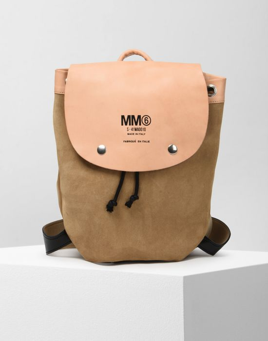 MM6 MAISON MARGIELA Calfskin and suede backpack Backpack [*** pickupInStoreShipping_info ***] f