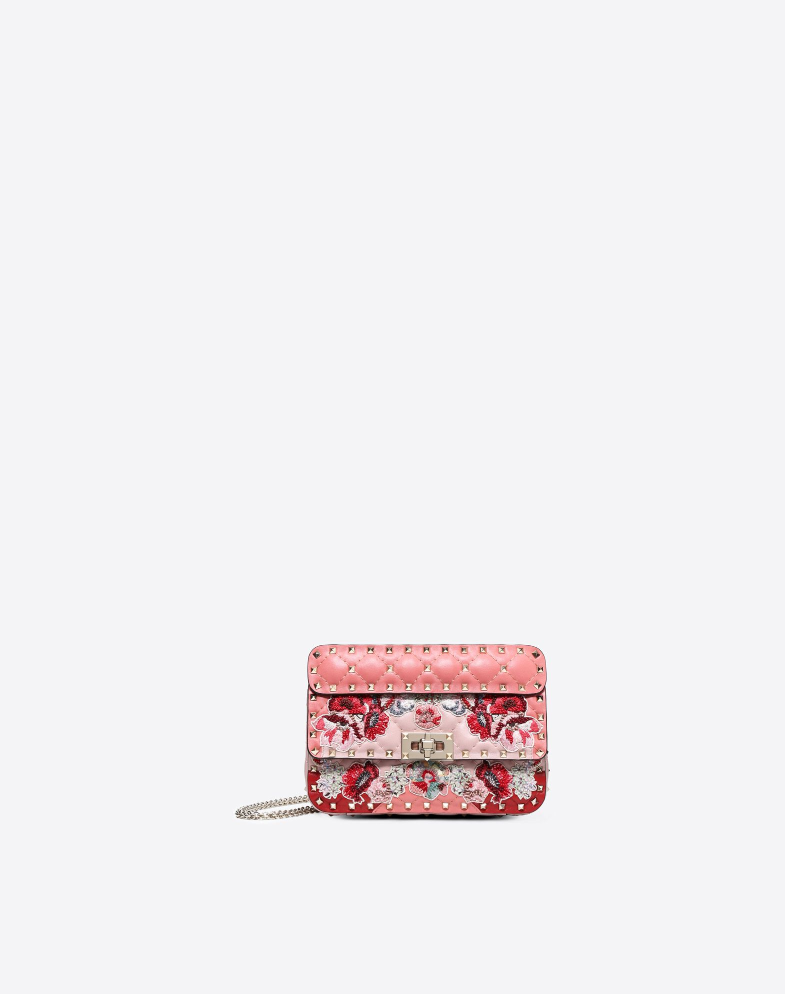 VALENTINO Studded Quilted Embroidered detailing Beaded Framed closure Leather lining Removable shoulder strap  45401887xx