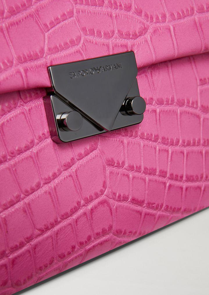 EMPORIO ARMANI Croc print leather crossbody bag Mini Bag Woman b