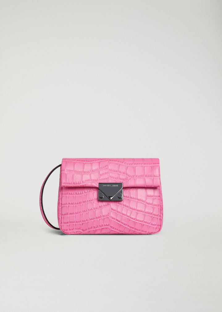 EMPORIO ARMANI Croc print leather crossbody bag Mini Bag Woman f
