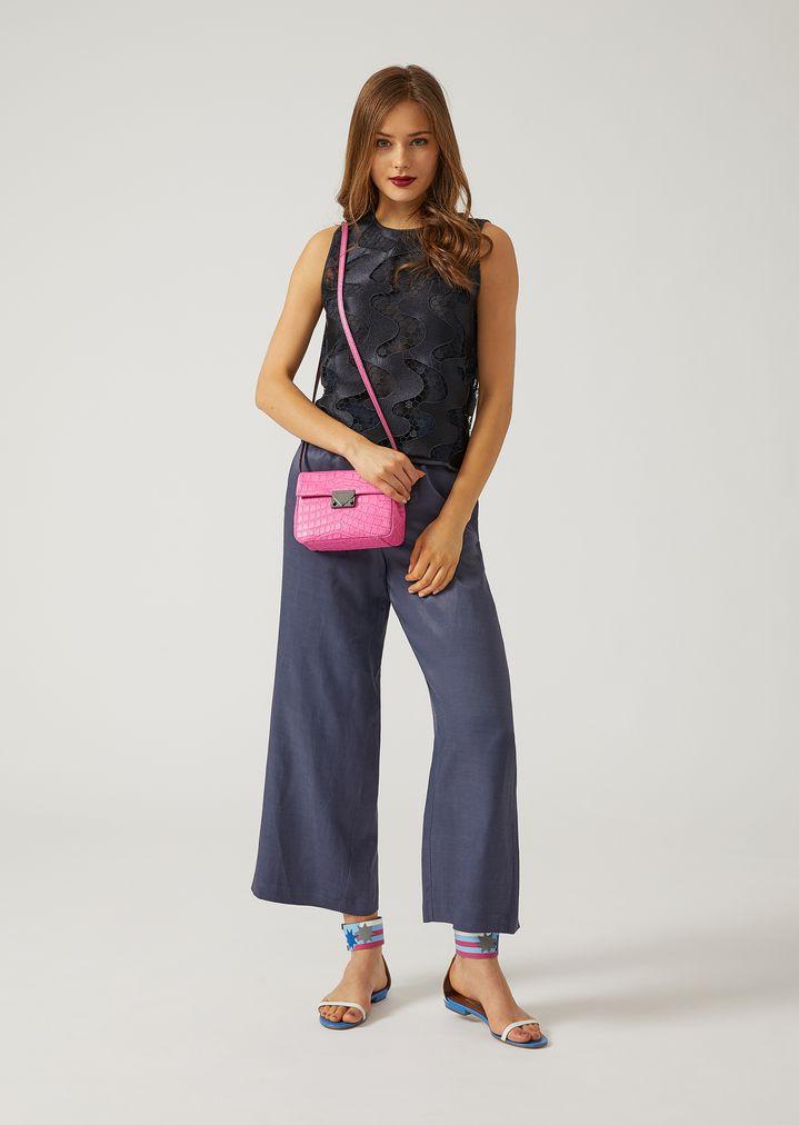 EMPORIO ARMANI Croc print leather crossbody bag Mini Bag Woman r
