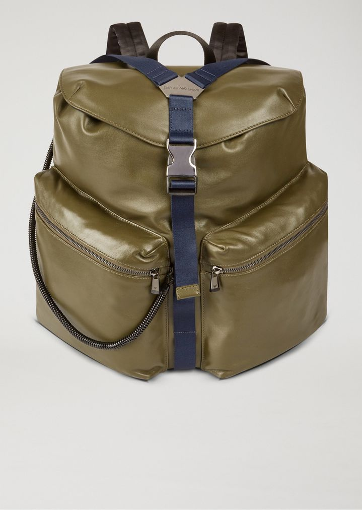 Nappa leather and nylon rucksack   Man   Emporio Armani e15fc16df6