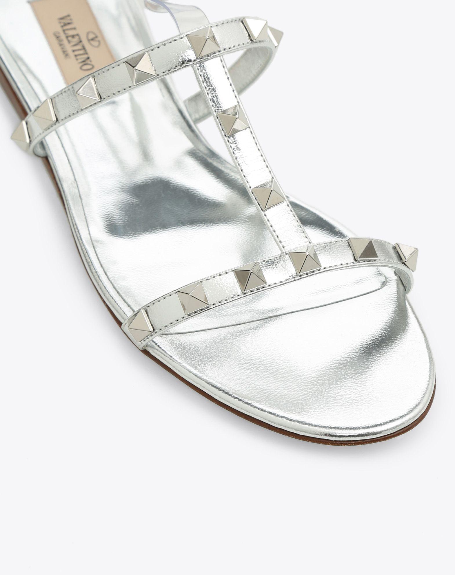 VALENTINO GARAVANI 透明细节低跟凉鞋 FLAT SANDALS D b