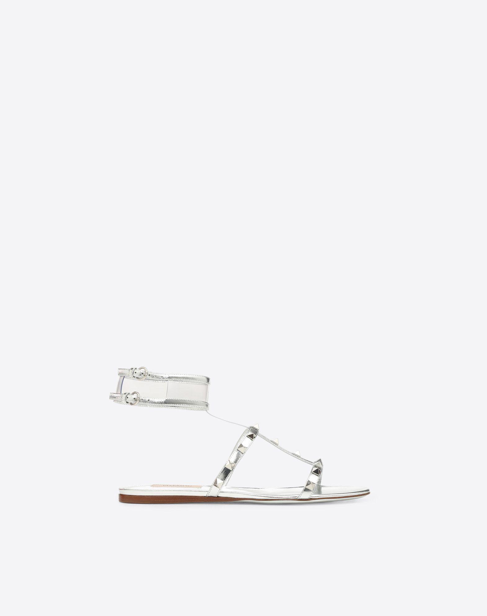 VALENTINO GARAVANI 透明细节低跟凉鞋 FLAT SANDALS D f