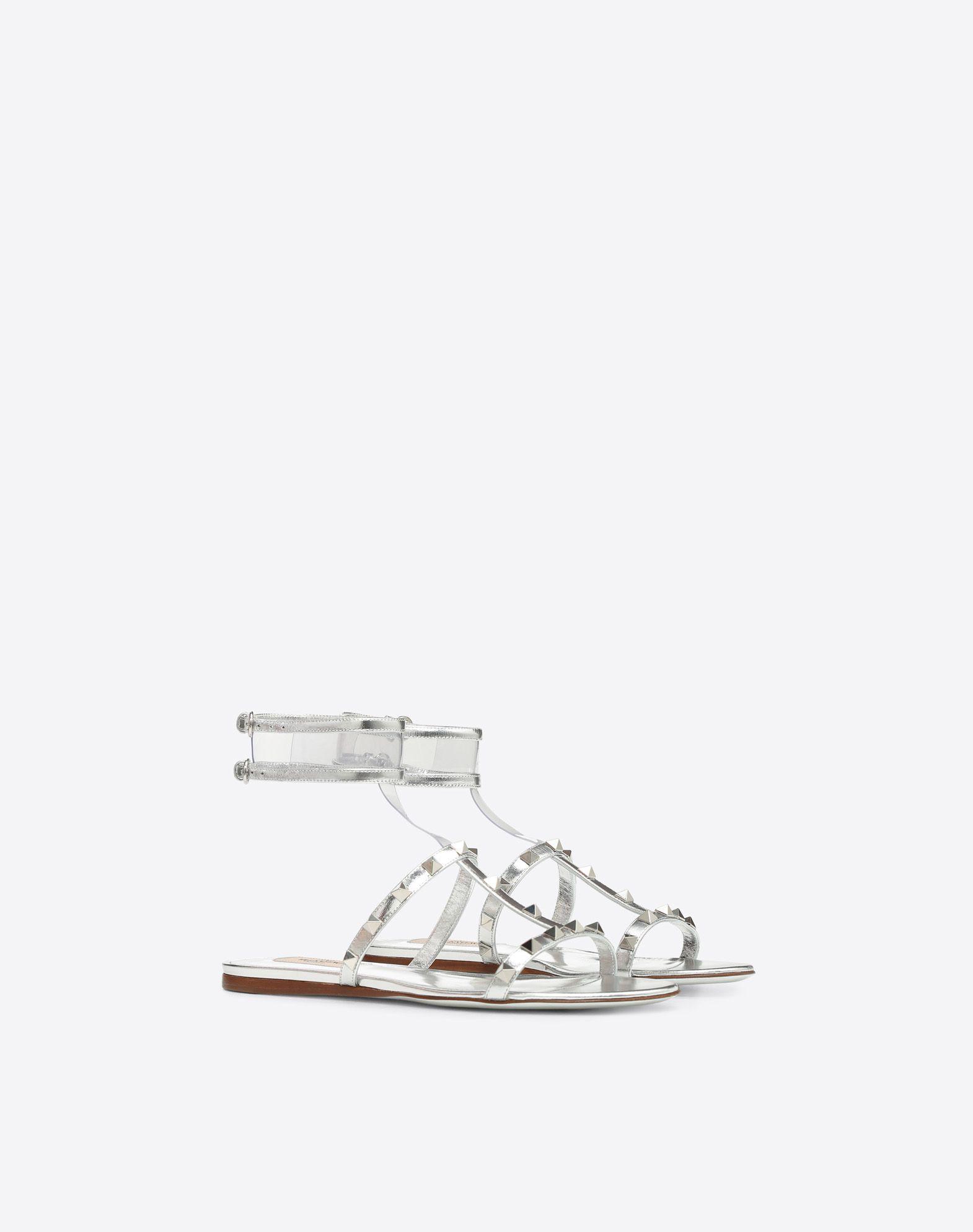 VALENTINO GARAVANI 透明细节低跟凉鞋 FLAT SANDALS D r