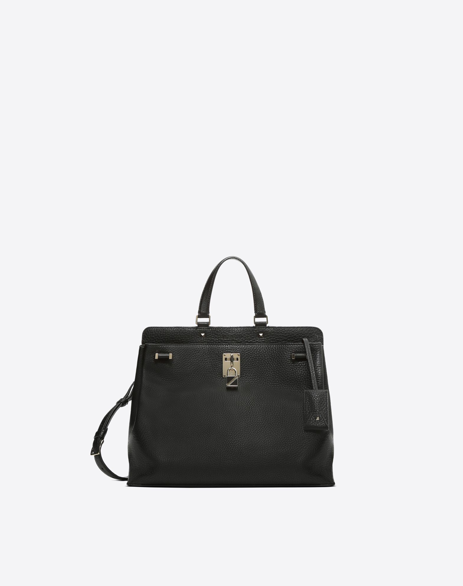 VALENTINO Textured leather Logo Solid colour Framed closure  45402968jl