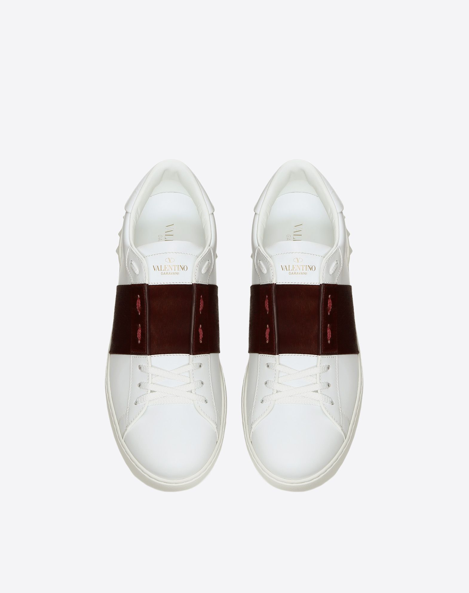 VALENTINO Two-tone Contrasting applications Round toeline Leather lining Laces Rubber sole Logo Calf hair  45405978gl