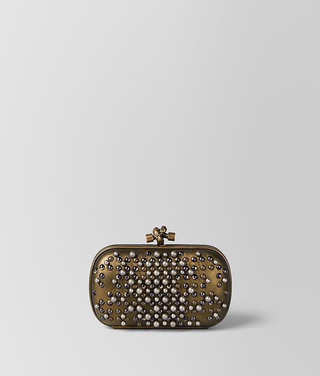 BOTTEGA VENETA DARK GOLD SPHERES KNOT  Clutch Woman fp