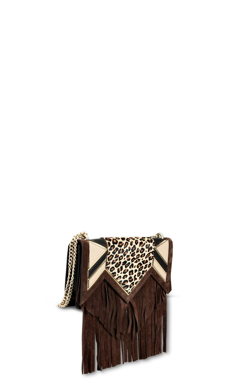 JUST CAVALLI Leopard shoulder bag with fringe Crossbody Bag Woman d