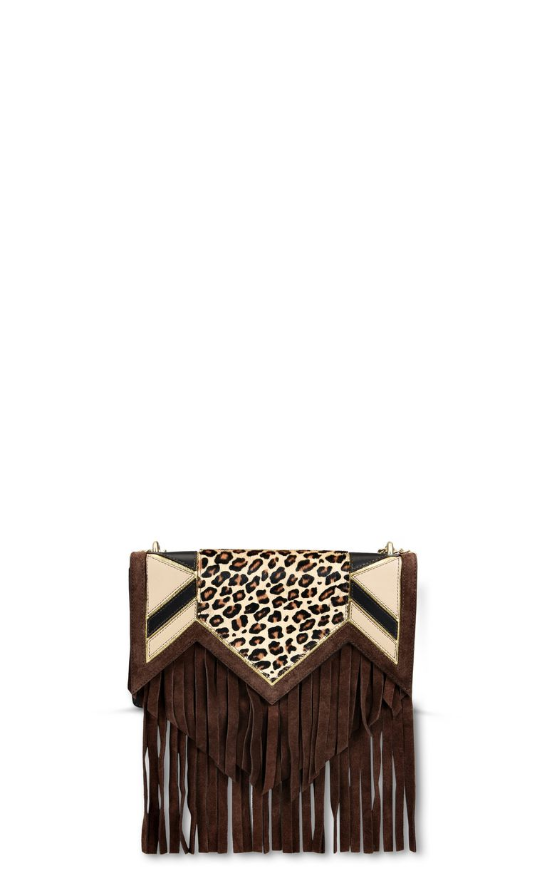 JUST CAVALLI Leopard shoulder bag with fringe Crossbody Bag Woman f