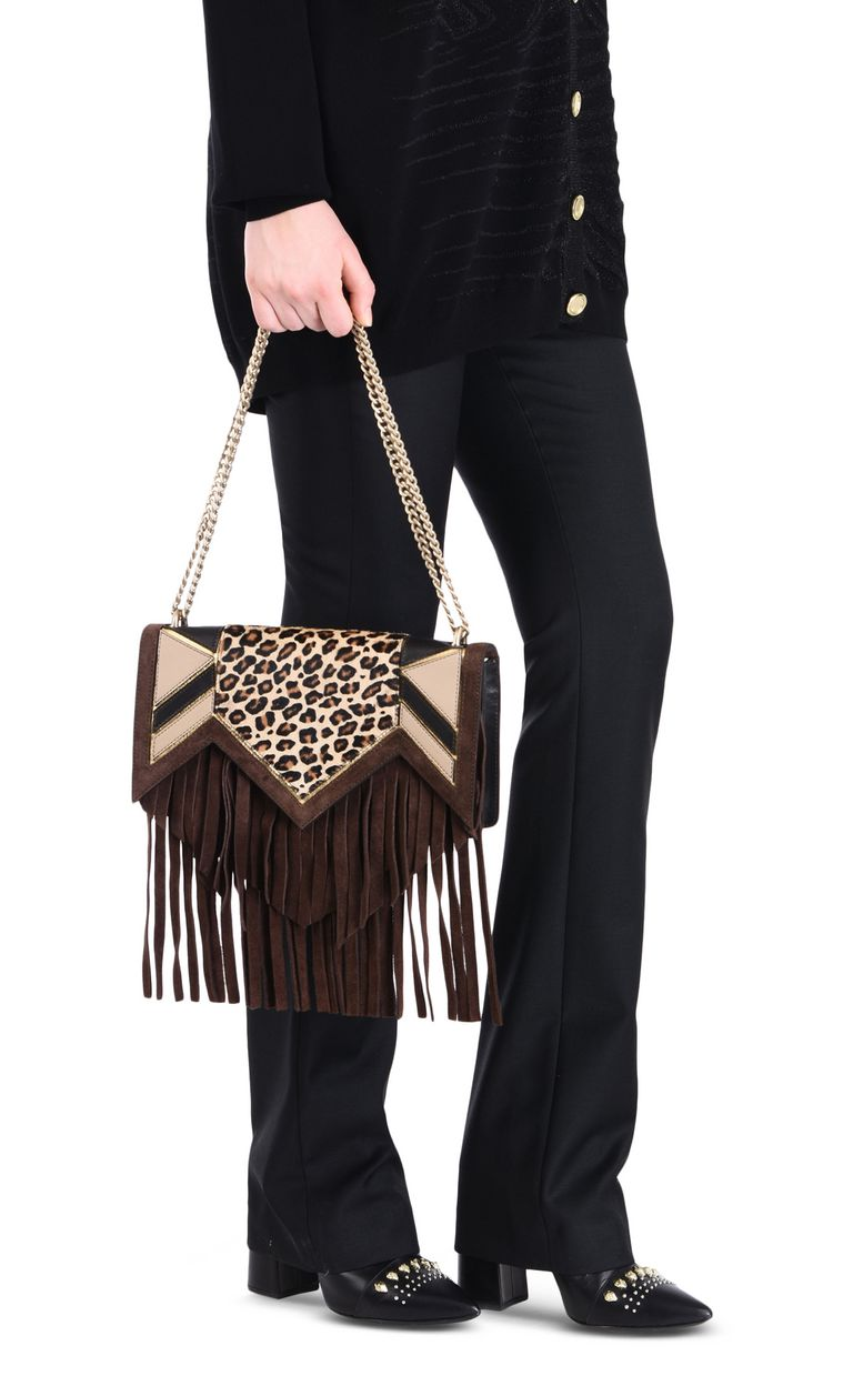 JUST CAVALLI Leopard shoulder bag with fringe Crossbody Bag Woman r