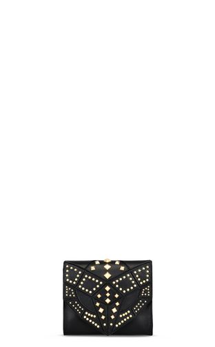 Snake head shoulder bag with studs