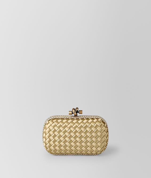 BOTTEGA VENETA BORSA KNOT IN INTRECCIO IMPERO BUTTERSCOTCH Pochette [*** pickupInStoreShipping_info ***] fp