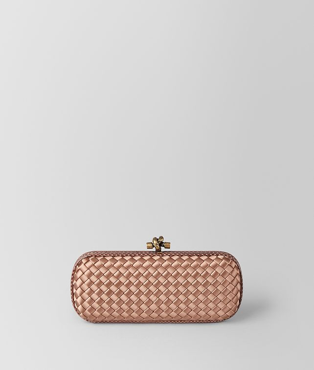 BOTTEGA VENETA KNOT CLUTCH STRETCH IN INTRECCIO IMPERO DAHLIA Pochette Donna fp