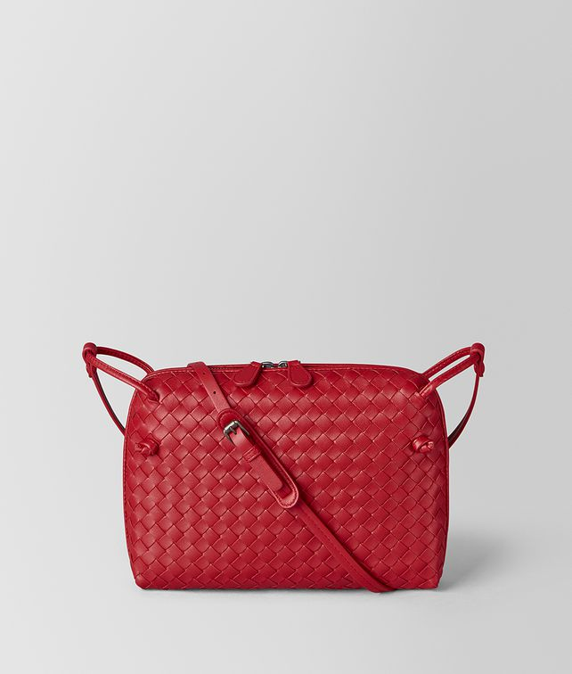 BOTTEGA VENETA BORSA MESSENGER IN INTRECCIATO NAPPA CHINA RED Borsa a Tracolla Donna fp
