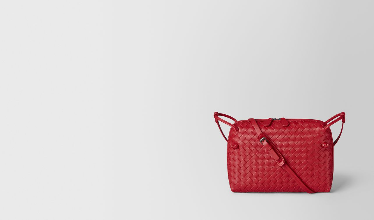 borsa messenger in intrecciato nappa china red landing