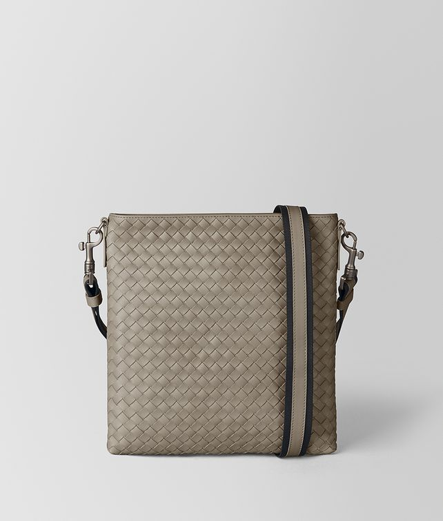 BOTTEGA VENETA 深冷灰色编织牛皮小号邮差包 斜背包 [*** pickupInStoreShippingNotGuaranteed_info ***] fp