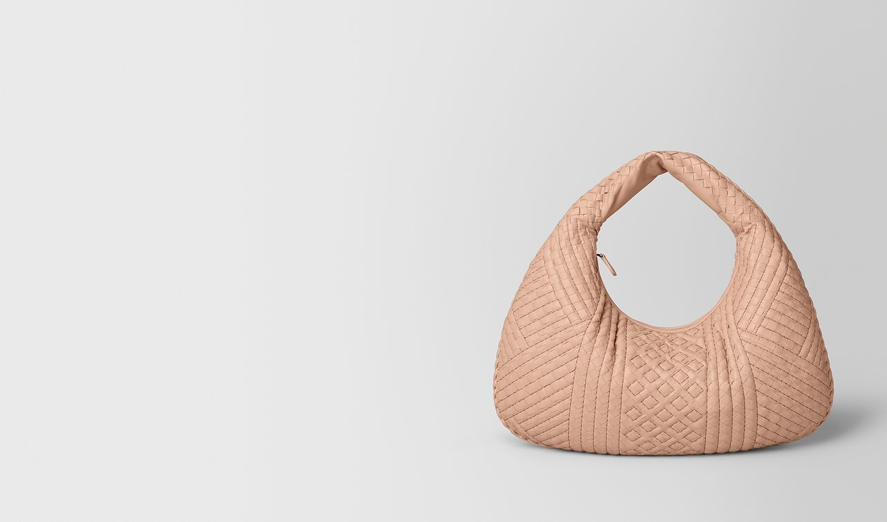 peach rose intrecciato calf veneta bag landing