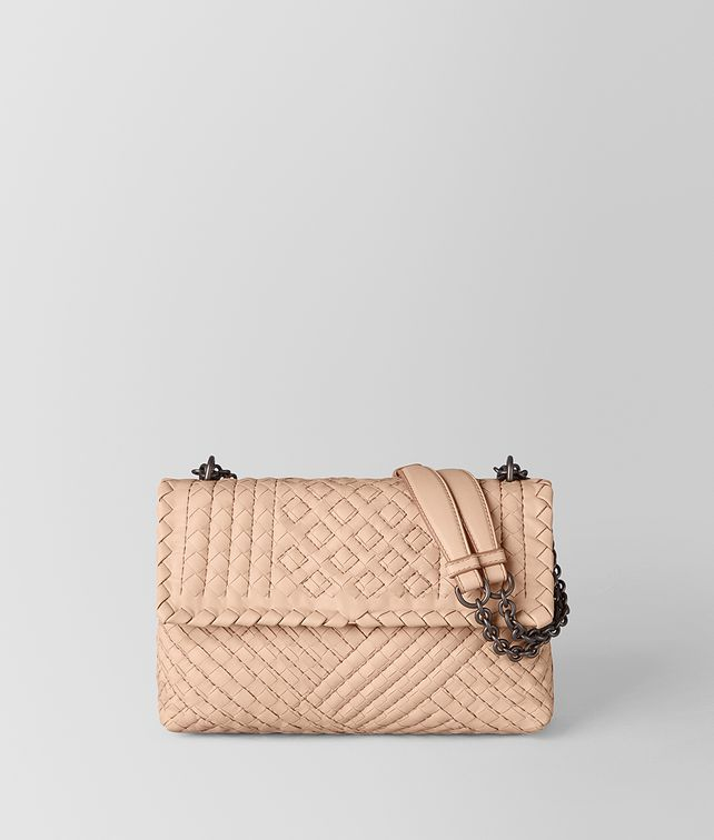 BOTTEGA VENETA BORSA OLIMPIA IN INTRECCIATO VITELLO PEACH ROSE Shoulder Bag Donna fp