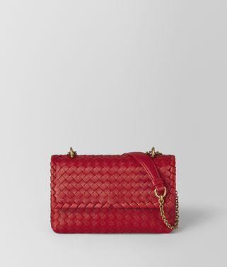 中国红编织小羊皮BABY OLIMPIA手袋