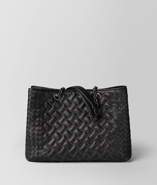 BOTTEGA VENETA SHOPPER MICRO BORCHIE IN NAPPA NERO Borsa Shopping Donna fp